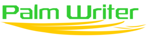Palm Writer Logo - Words Palm Writer in Green With Yellow Serif Evocative of A Hand Supporting The Letters.