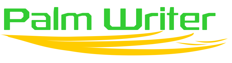 Palm Writer Logo - Words Palm Writer in Green With Yellow Serif Evocative of A Hand Supporting The Letters