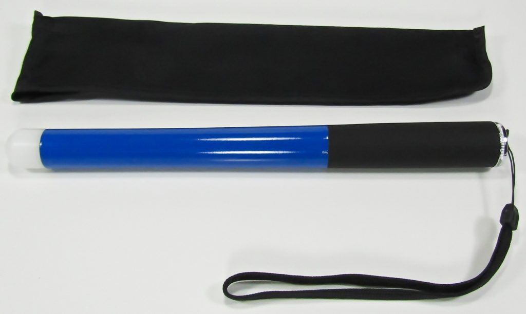 True Blue 48 inch cane with black nylon slim and flexible Velcro closure carry case